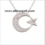 Zirkon Taşlı Ay Yıldız Gümüş Kolye