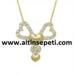 Altın Fiyonk Figürlü Kalpli Kolye