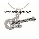 Gümüş Karartmalı Gitar Kolye